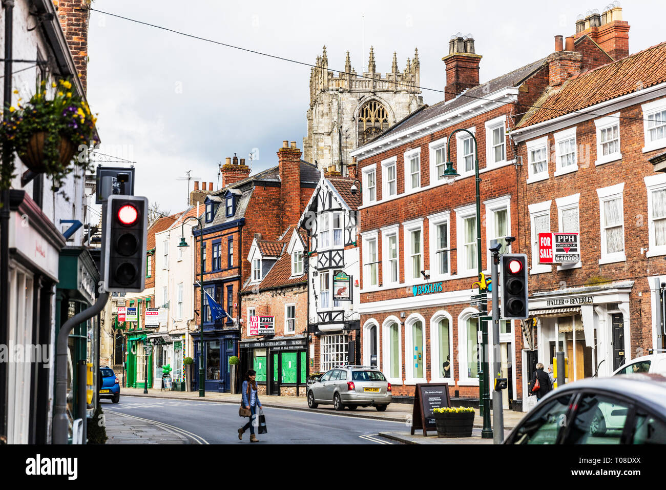 Beverley town centre, center, shops, shoppers, stores outside main street shopping area Beverley Yorkshire UK England - Stock Image