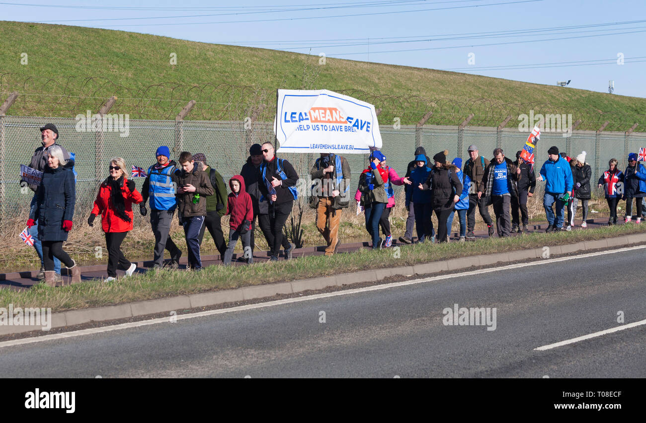 Hartlepool, UK. 17th March 2019. Brexit supporters on the second leg of the March to Leave walk from Hartlepool to Middlesbrough. Stock Photo