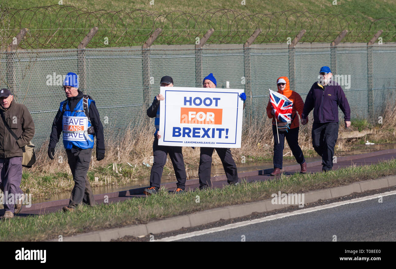 Hartlepool, UK. 17th March 2019. Brexit supporters on the second leg of the March to Leave walk from Hartlepool to Middlesbrough. - Stock Image