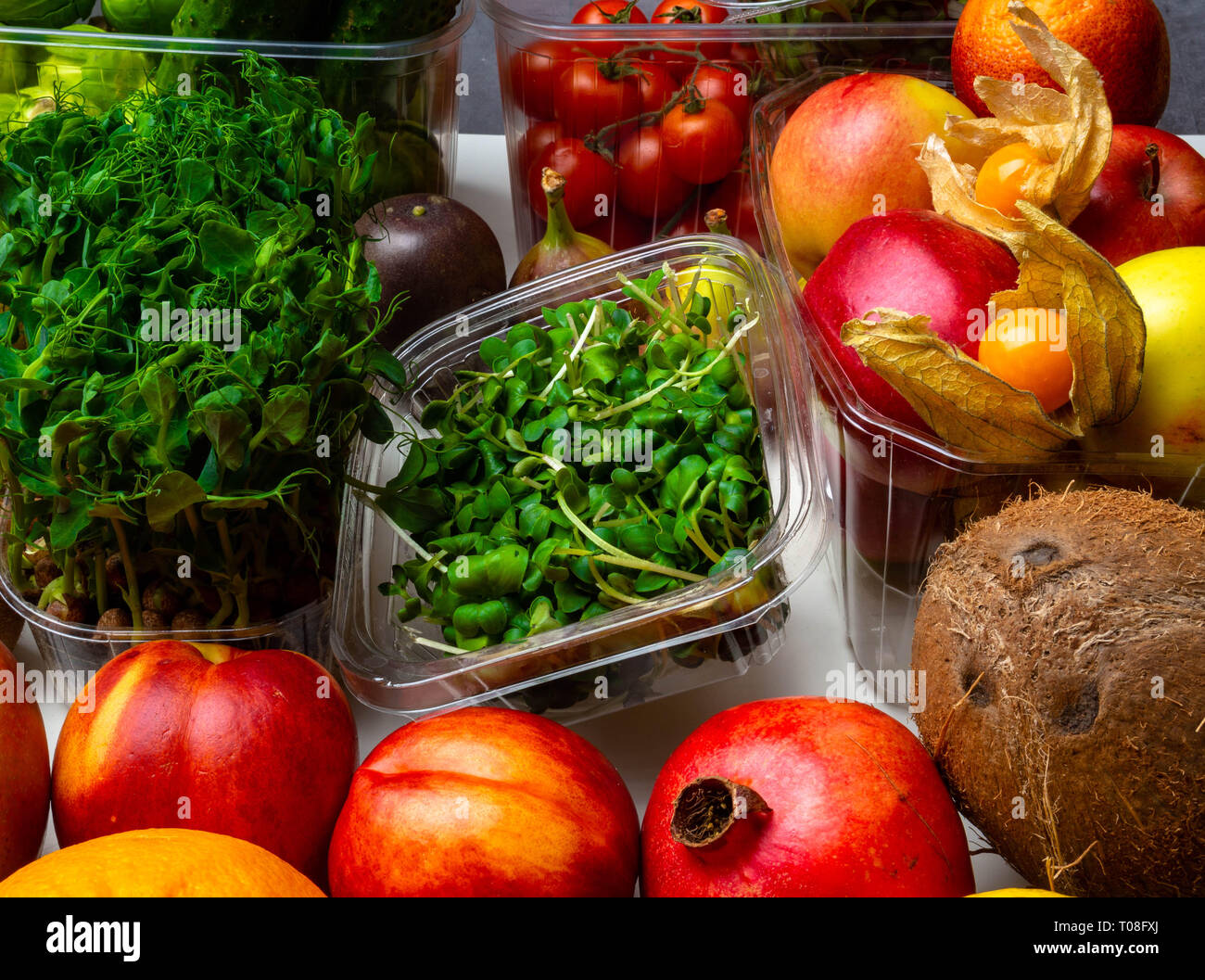 Colorful fruits and vegetables background, rich in vitamins and antioxidants - Stock Image