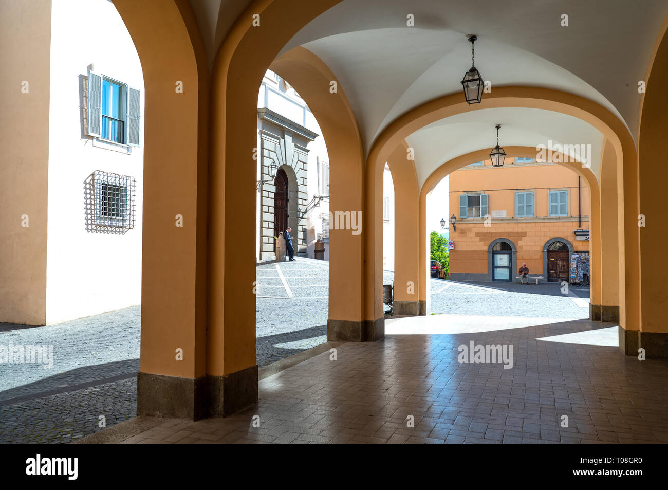 Italy, Castelgandolfo, The arcade  in front of the Apostolic palace, summer residence of the Popes - Stock Image