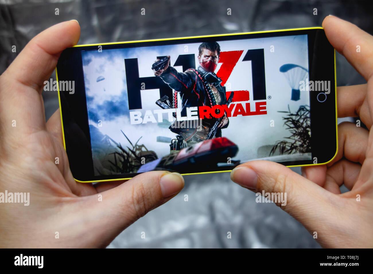 Berdyansk, Ukraine - March 18, 2019: Closeup of phone Screen
