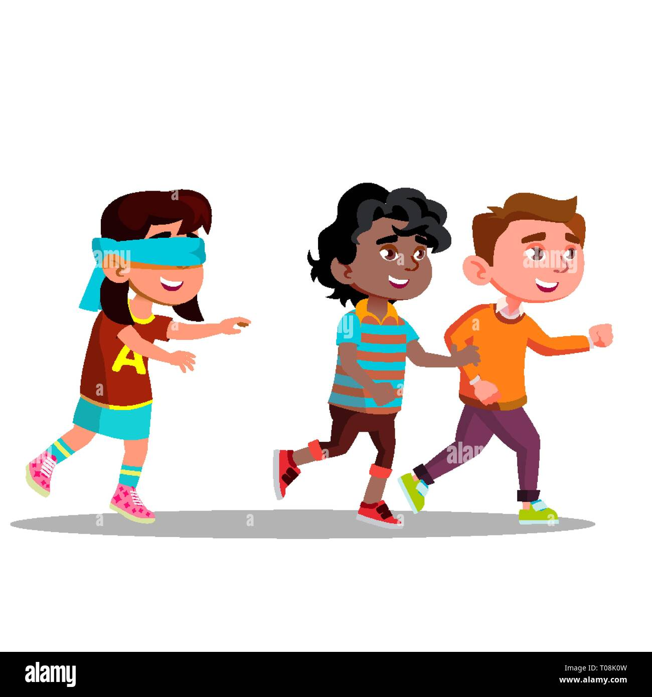 Blindfolded Girl With Arms Outstretched Looking For Friends Running Away Vector Flat Cartoon Illustration Stock Vector