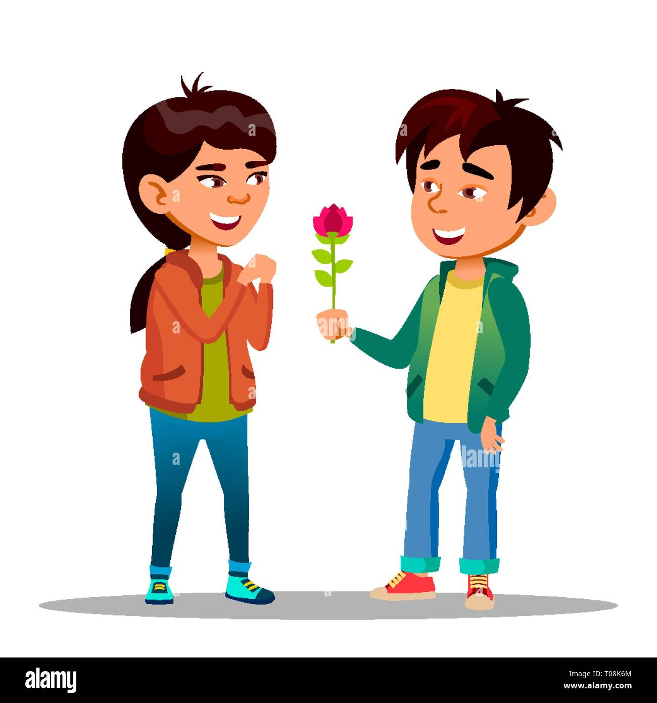 Chinese Boy Gives A Girl Red Peony As Symbol Of Love Vector Flat Cartoon Illustration - Stock Vector