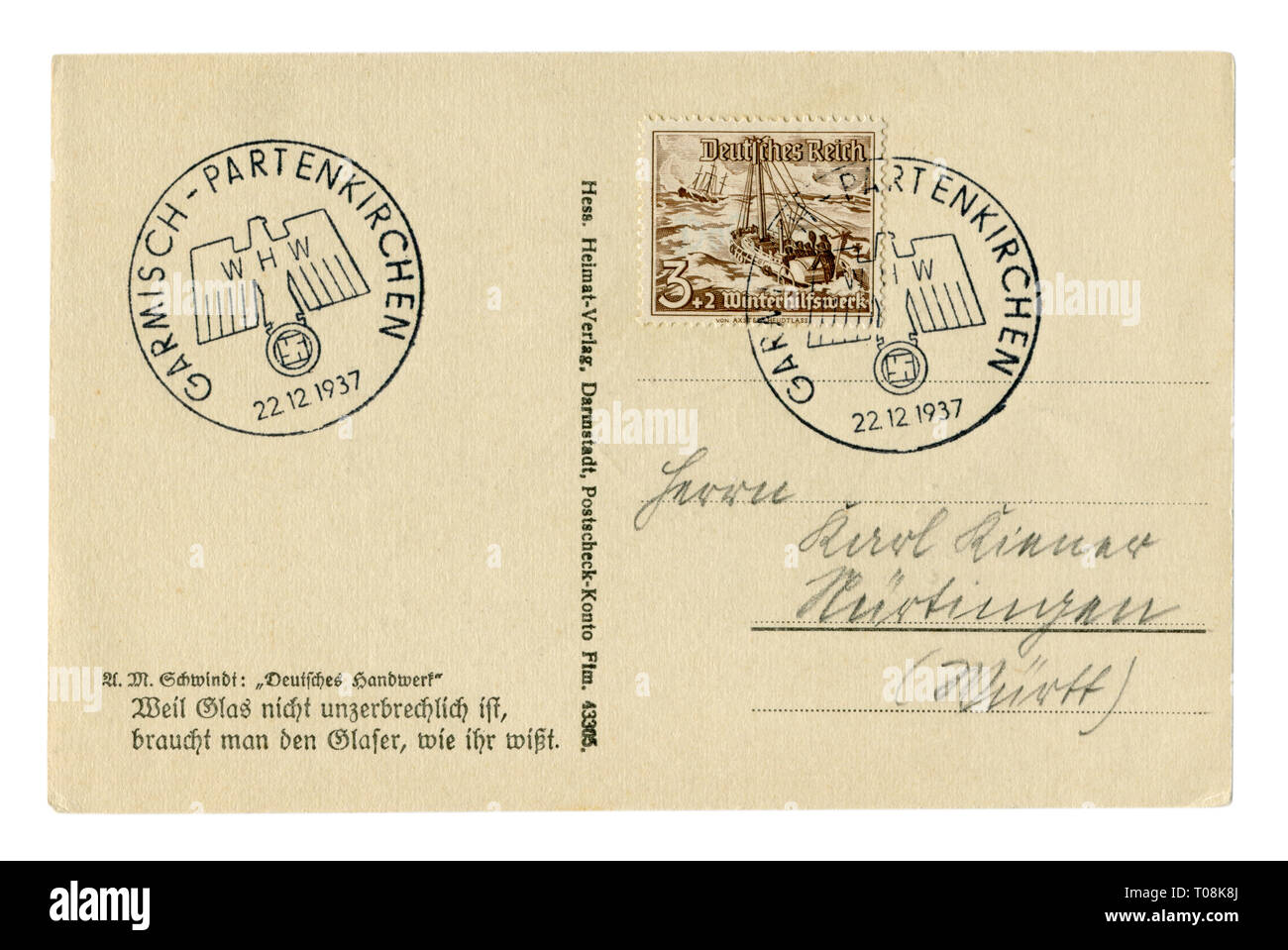 German historical postal card with stamp: Rescue boat 'Bremen', equipped with a diesel engine, designed to save people from sinking ships, WHW, reich - Stock Image