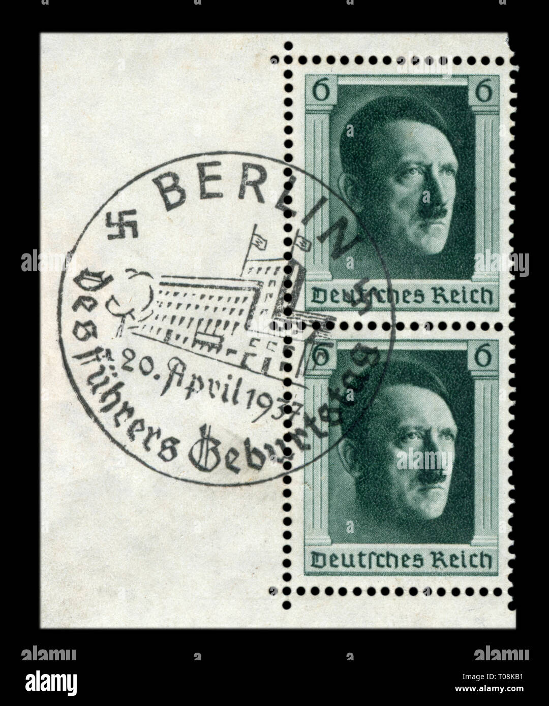 German historical stamp: 48th birthday of Adolf Hitler with special first day cancellation, FDC, Reich Chancellery, Berlin, DR, third Reich - Stock Image