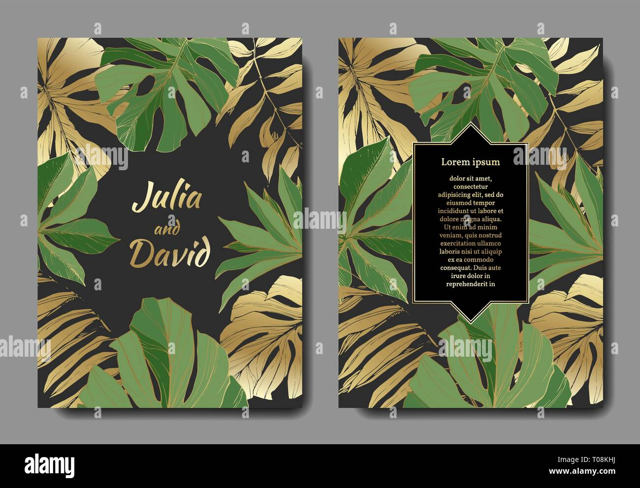 Vector Tropical Leaves Gold And Green Engraved Ink Art Wedding Background Card Floral Decorative Border Stock Vector Image Art Alamy Tropical florals and plants are everywhere now—patterns, artwork, and so add a little golden touch to your own home by creating this diy gold tropical leaf art print. https www alamy com vector tropical leaves gold and green engraved ink art wedding background card floral decorative border image241136158 html