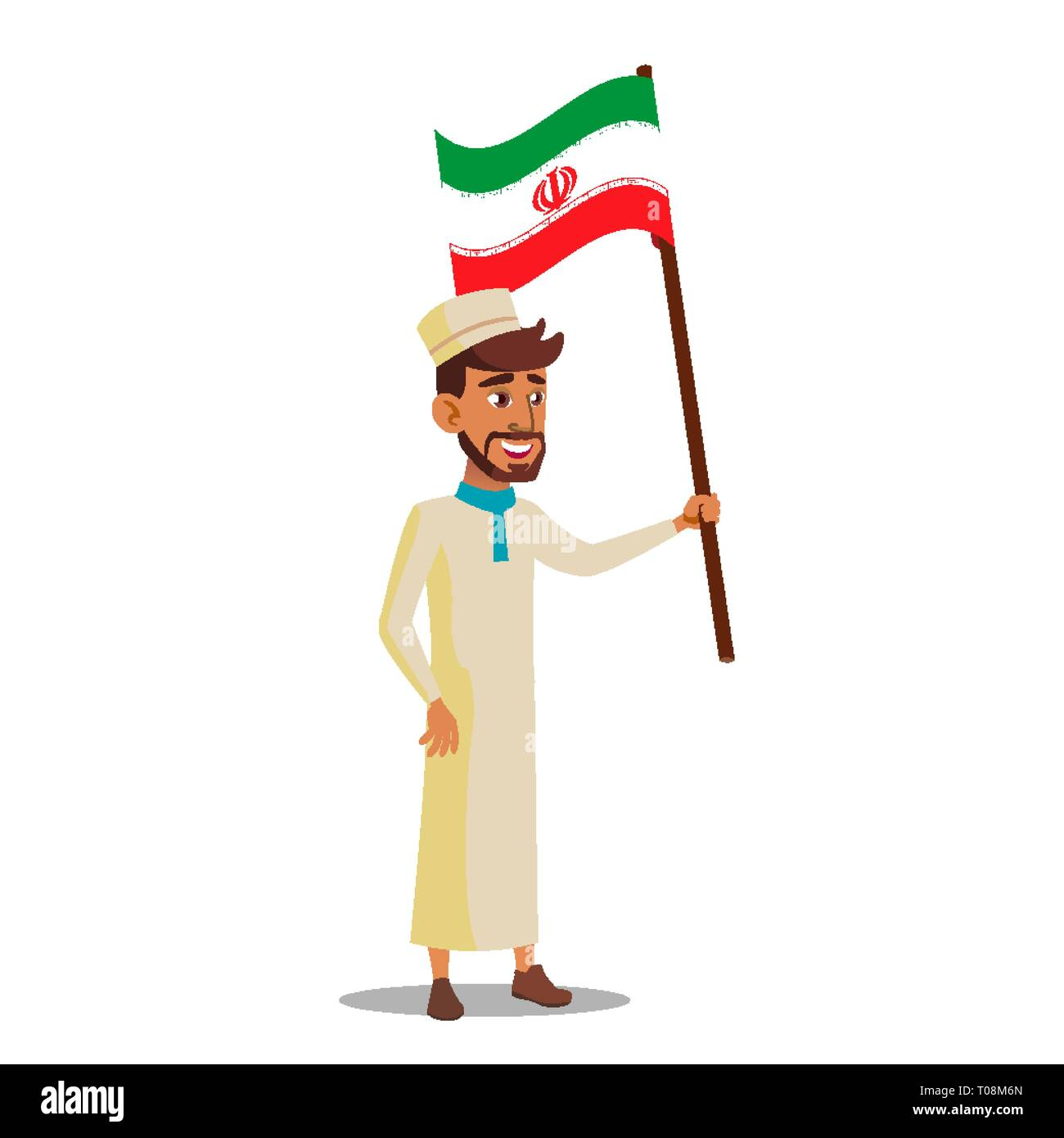 Arab Boy Holds Flag Of Iran Vector Flat Cartoon Illustration Stock Vector