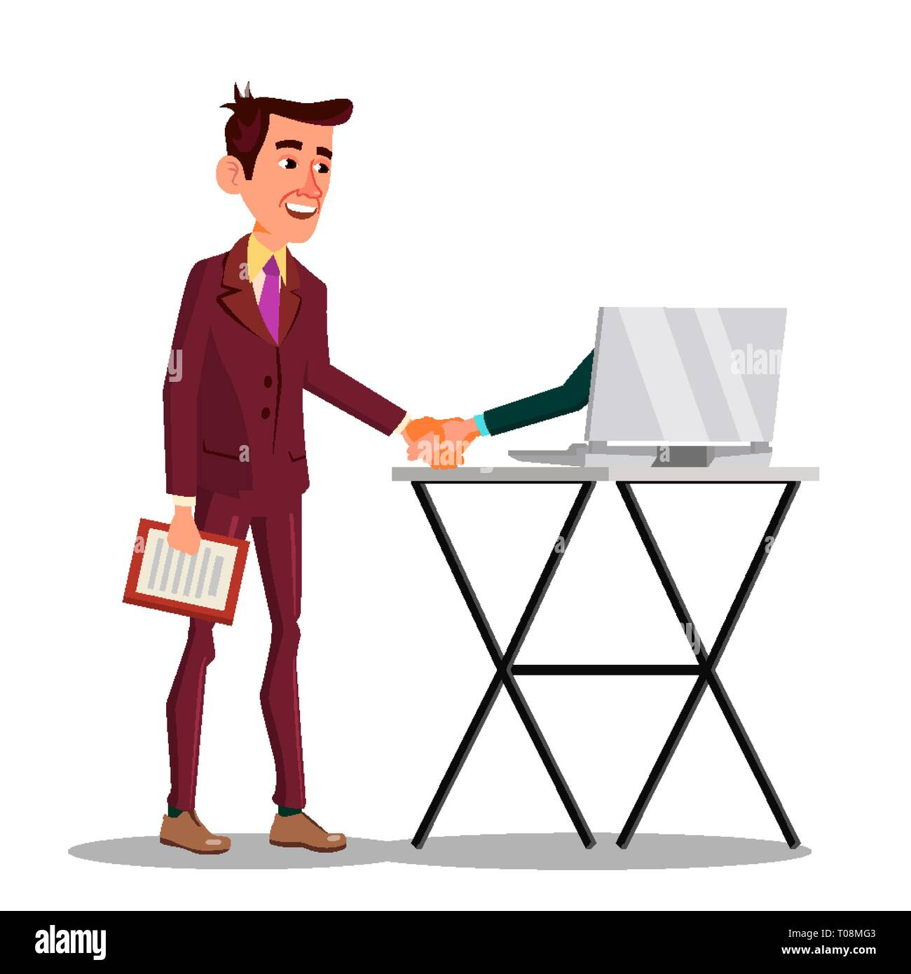 Businessman Shaking Hand Extended From Screen Of His Laptop Vector Flat Cartoon Illustration - Stock Vector
