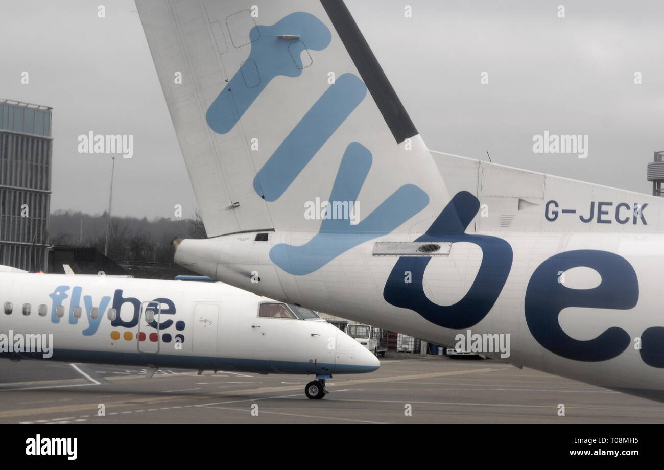 AJAXNETPHOTO. EASTLEIGH, ENGLAND. - FLYBE LOGO ON REGIONAL PASSENGER AIRCRAFT PARKED AND ARRIVING AT EASTLEIGH AIRPORT.PHOTO:JONATHAN EASTLAND/AJAX REF:D122902_1753 - Stock Image