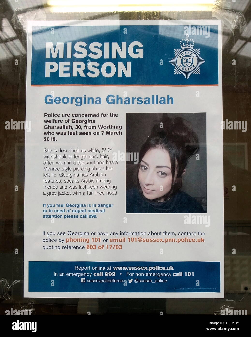 AJAXNETPHOTO. 2018. WORTHING, WEST SUSSESX, ENGLAND. - MISSING PERSONS - A POSTER OR NOTICE DEPICTING IMAGE OF A PERSON REPORTED MISSING POSTED IN A PUBLIC PLACE IN THE TOWN OF WORTHING. PERSON NAMED IN THIS NOTICE; GEORGINA GHARSALLAH, REPORTED MISSING 7TH MARCH, 2018, NOTICE ISSUED BY SUSSEX POLICE. PHOTO:JONATHAN EASTLAND/AJAX REF:GR180404_7901 - Stock Image