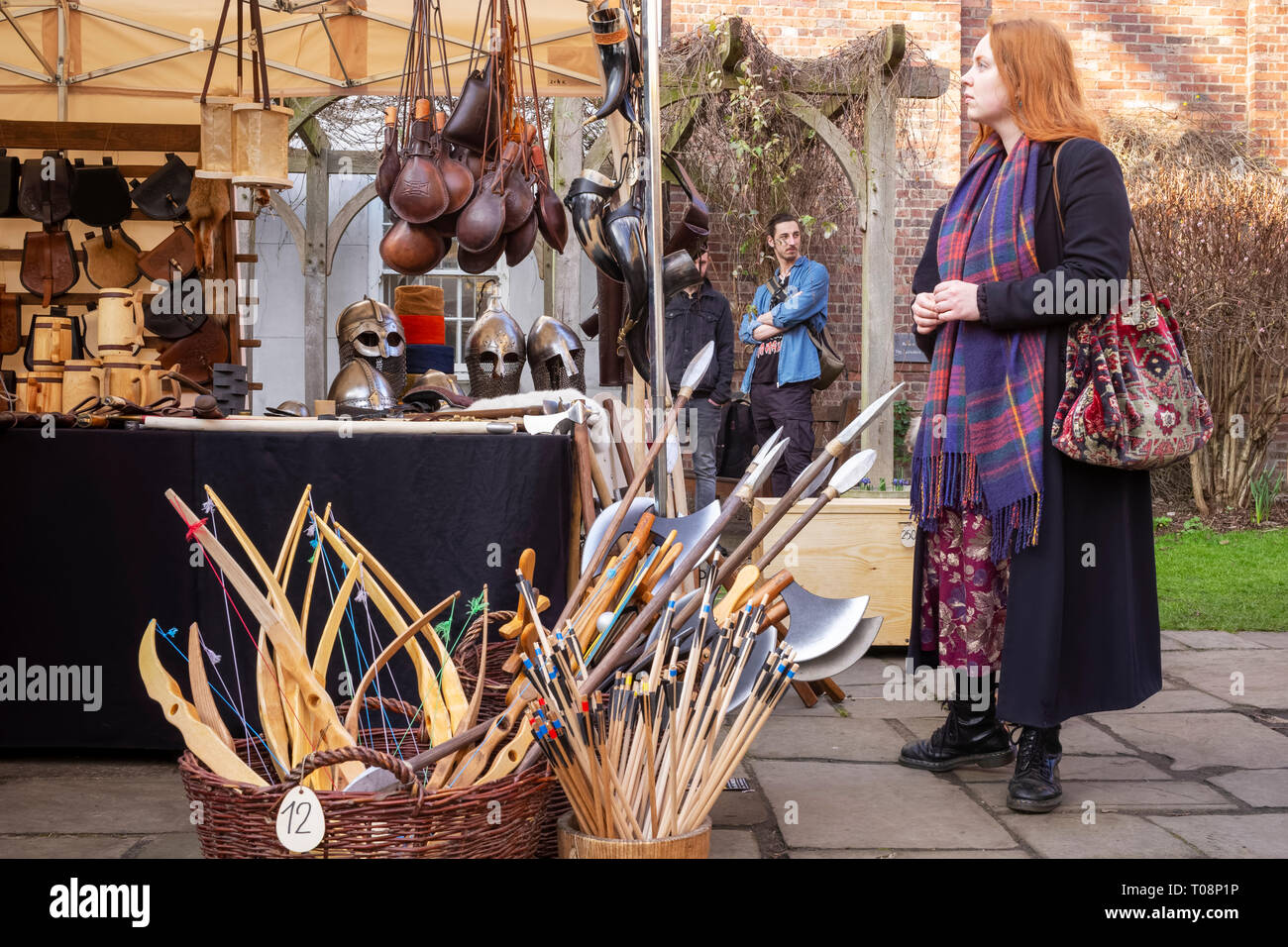 A re-enactment stall open for business during the February 2019 York Viking weekend, City of York, UK - Stock Image
