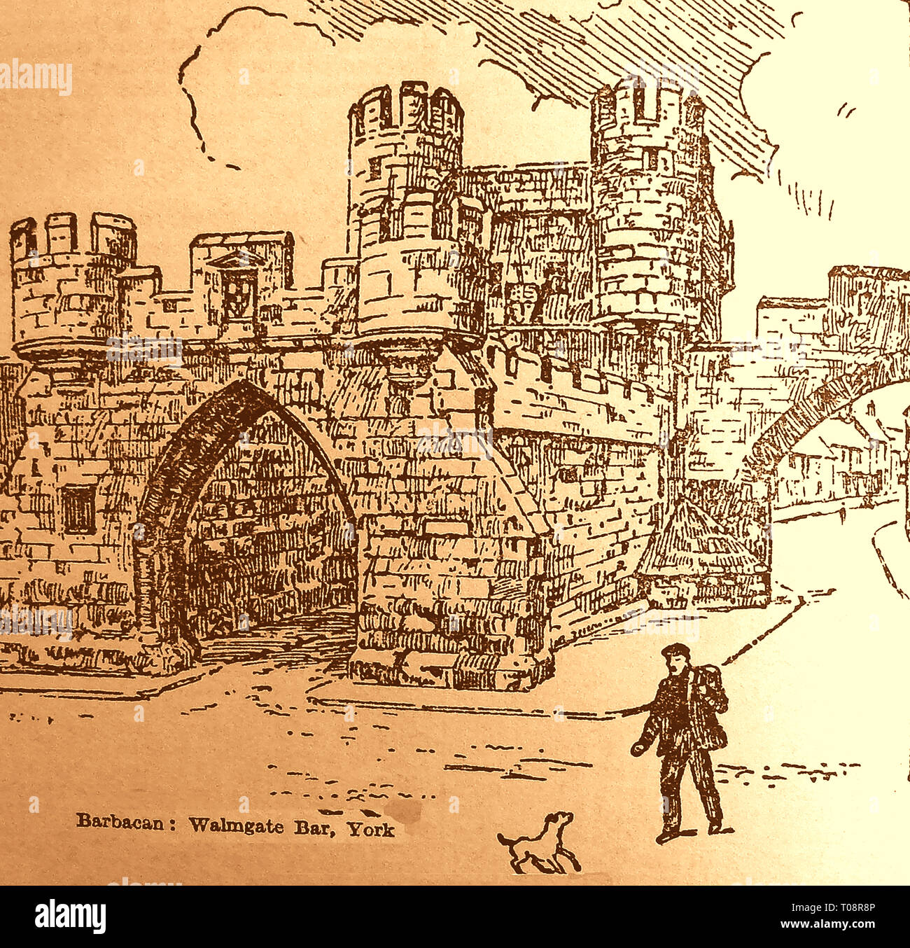 An old illustration showing the Barbican at Walmgate Bar in the city of York, England - Stock Image