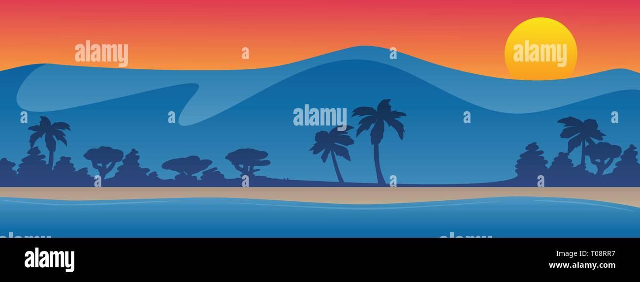 Mountains with beach shoreline summer scene background vector illustration - Stock Vector