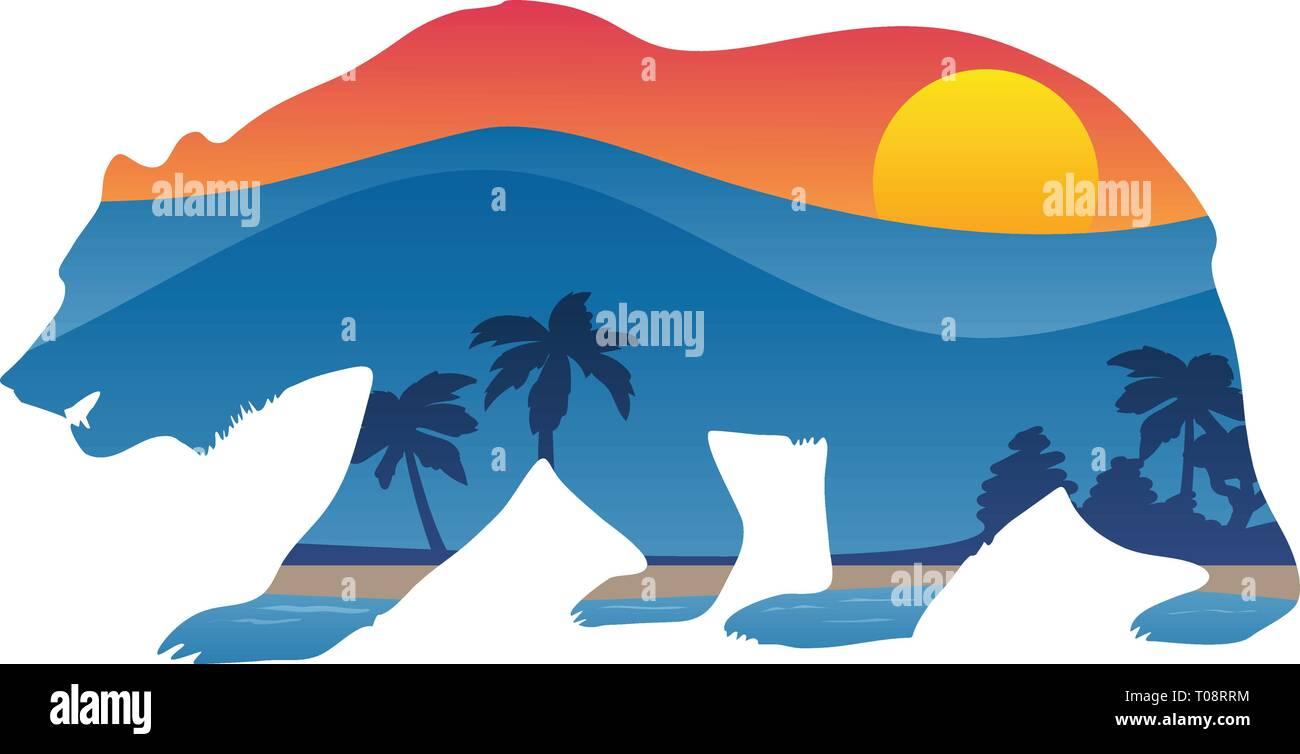 California bear with mountain shoreline summer scene overlay vector illustration - Stock Vector