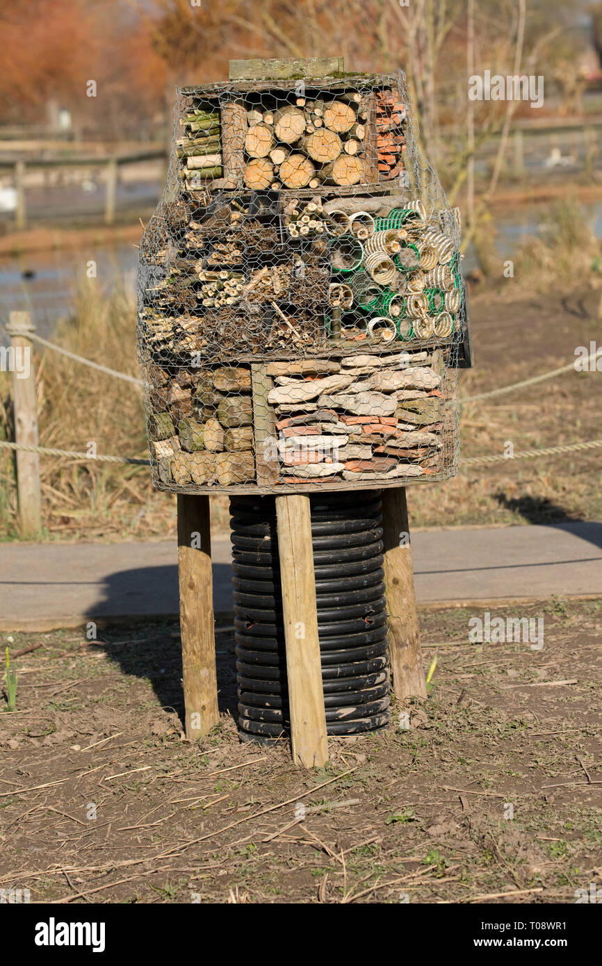 Insect or bug hotel built using a variety of materials including dry stone walling, logs and bundles of sticks at the Wildfowl and Wetland Trust, Slim Stock Photo