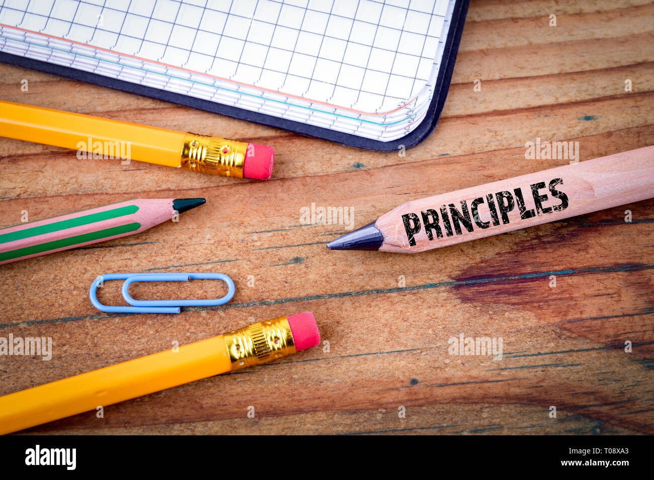 PRINCIPLES text on pencil - Stock Image