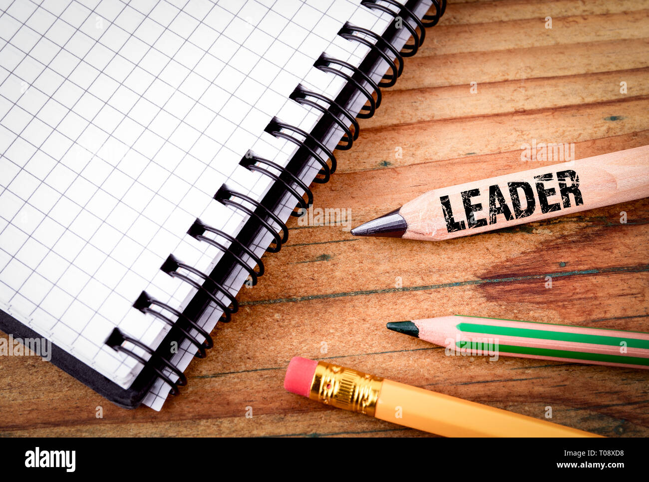 LEADER text on pencil. Business success concept Stock Photo