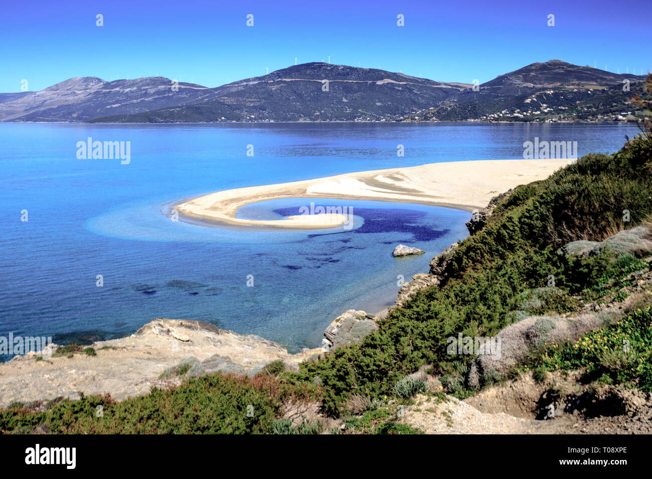 "Chryssi Ammos (""Golden Sand"") beach, close to Marmari town, Evia island, Central Greece. Stock Photo"
