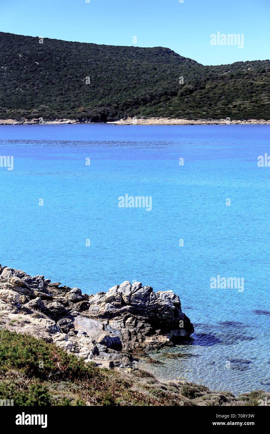 "Chryssi Ammos (""Golden Sand"") beach, close to Marmari town, Evia island, Central Greece. Stock Photo"