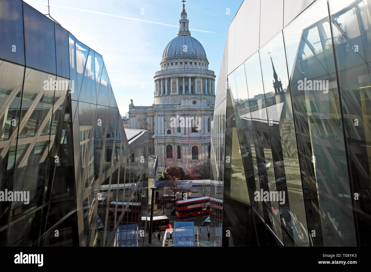 A view of St Pauls Cathedral dome from the elevator of One New Change and a view of the street and traffic below in London UK  KATHY DEWITT - Stock Image