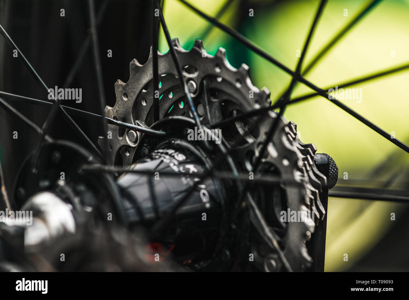 The rear cassette of a bike on stage 6 (Sidmouth to Haytor) of the 2016 Tour of Britain in Sidmouth, East Devon, South West England, UK. Stock Photo