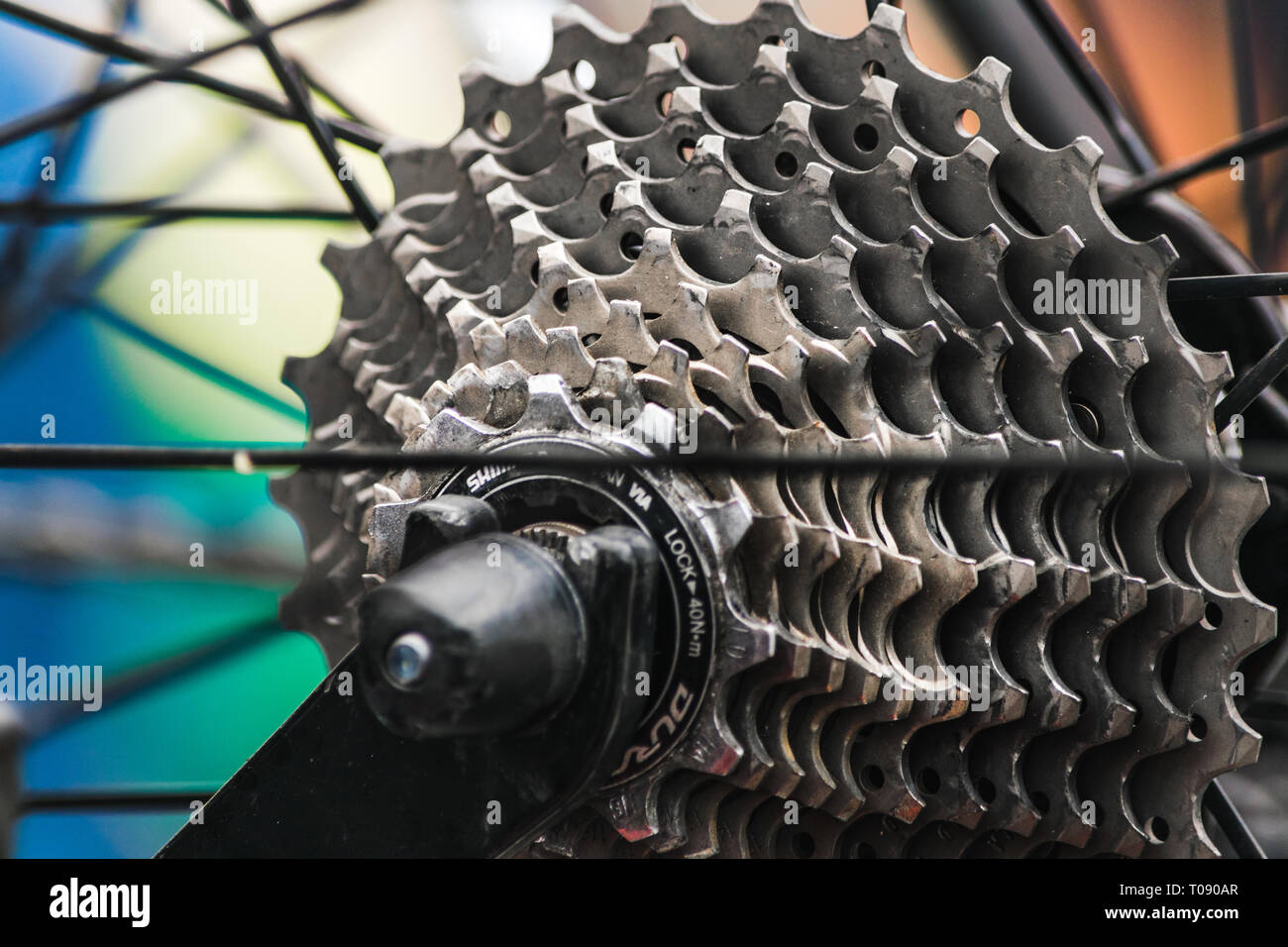The rear cassette of a bike on stage 6 (Sidmouth to Haytor) of the 2016 Tour of Britain in Sidmouth, East Devon, South West England, UK. - Stock Image