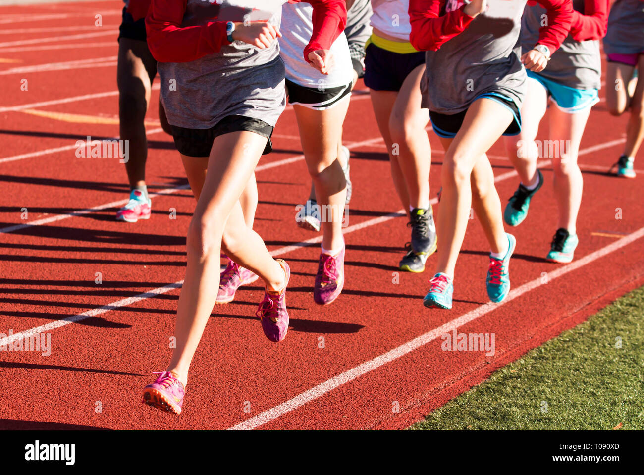 Girls cross country workout running