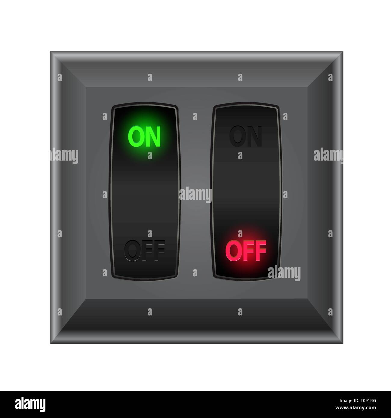 switches in on and off - Stock Image