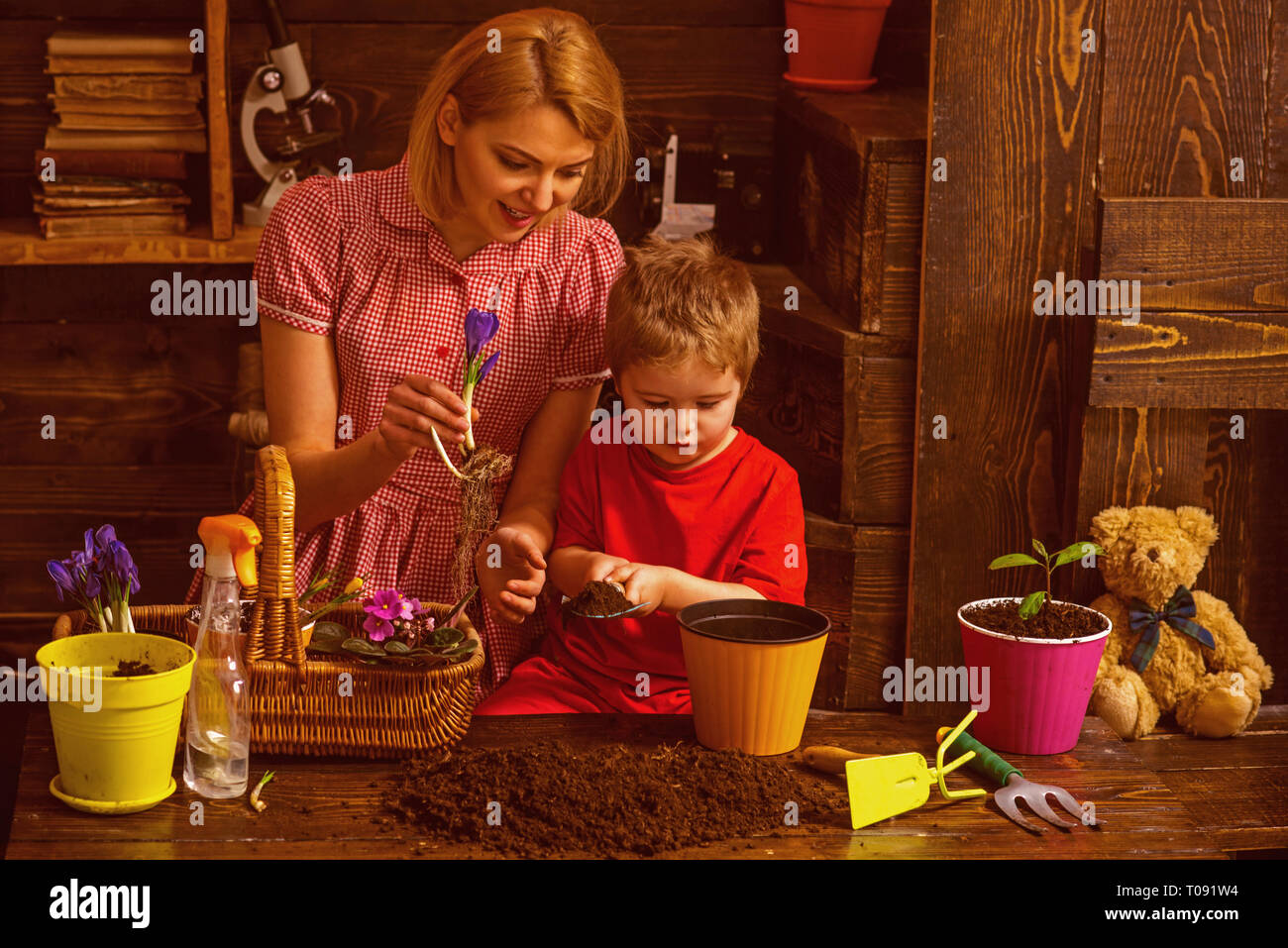 Love concept. Woman and little child plant flowers with love. Grown with love. Love and protect nature - Stock Image