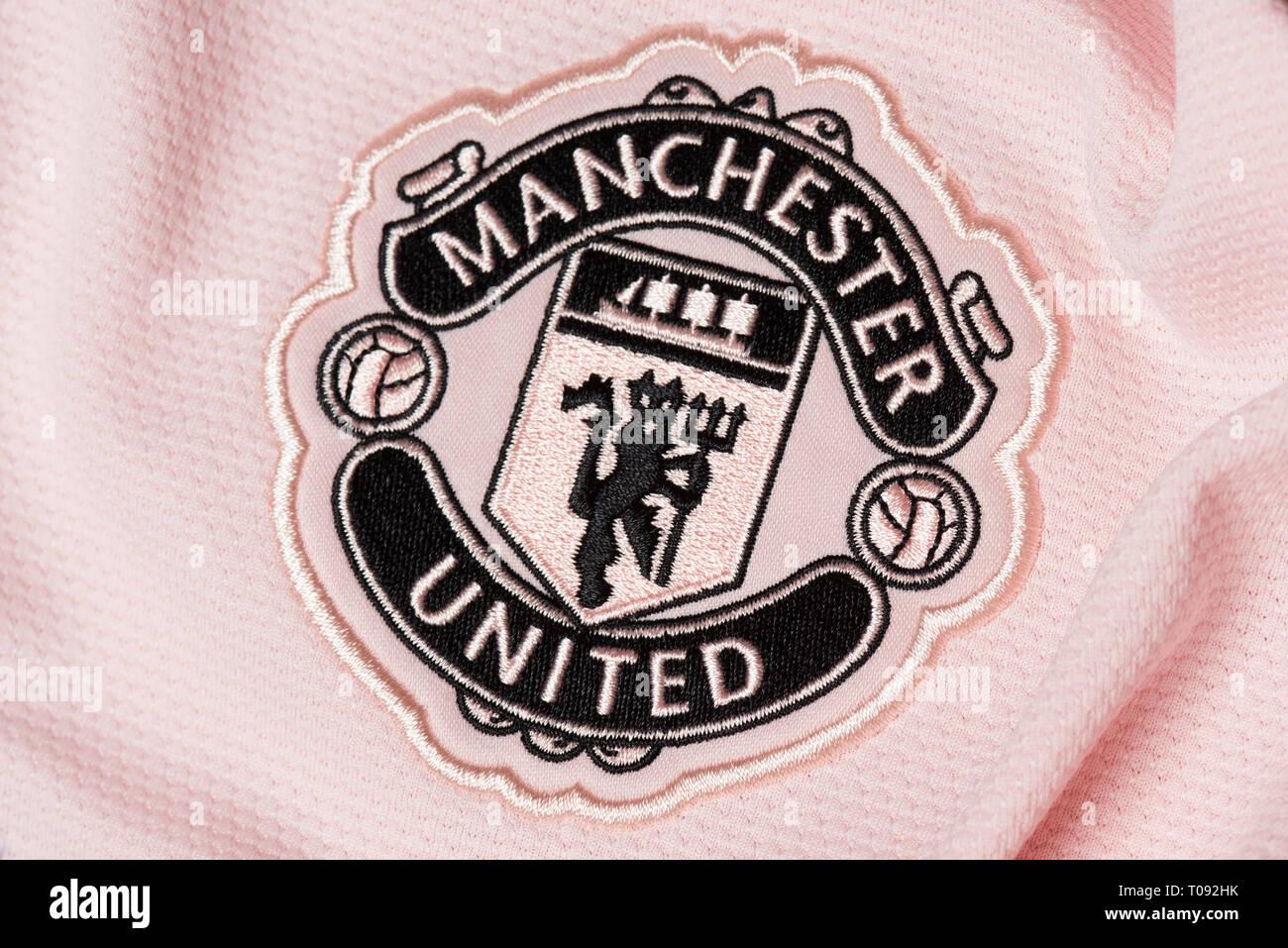 online store b1d5c 78bea Manchester United Pink Away Jersey Stock Photos & Manchester ...