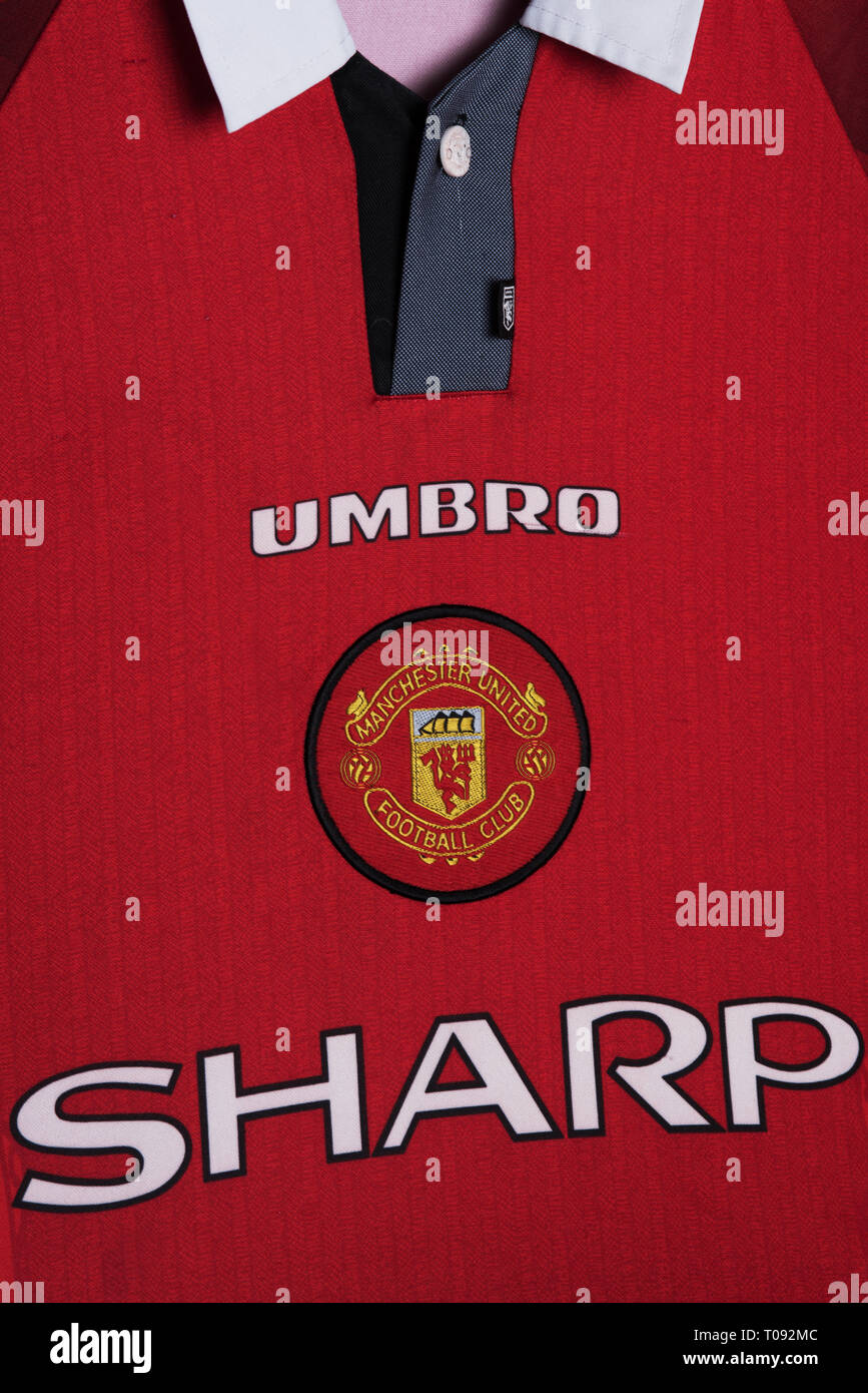 super popular 54958 558c2 Close up of Manchester United home kit for 1996/97 Stock ...