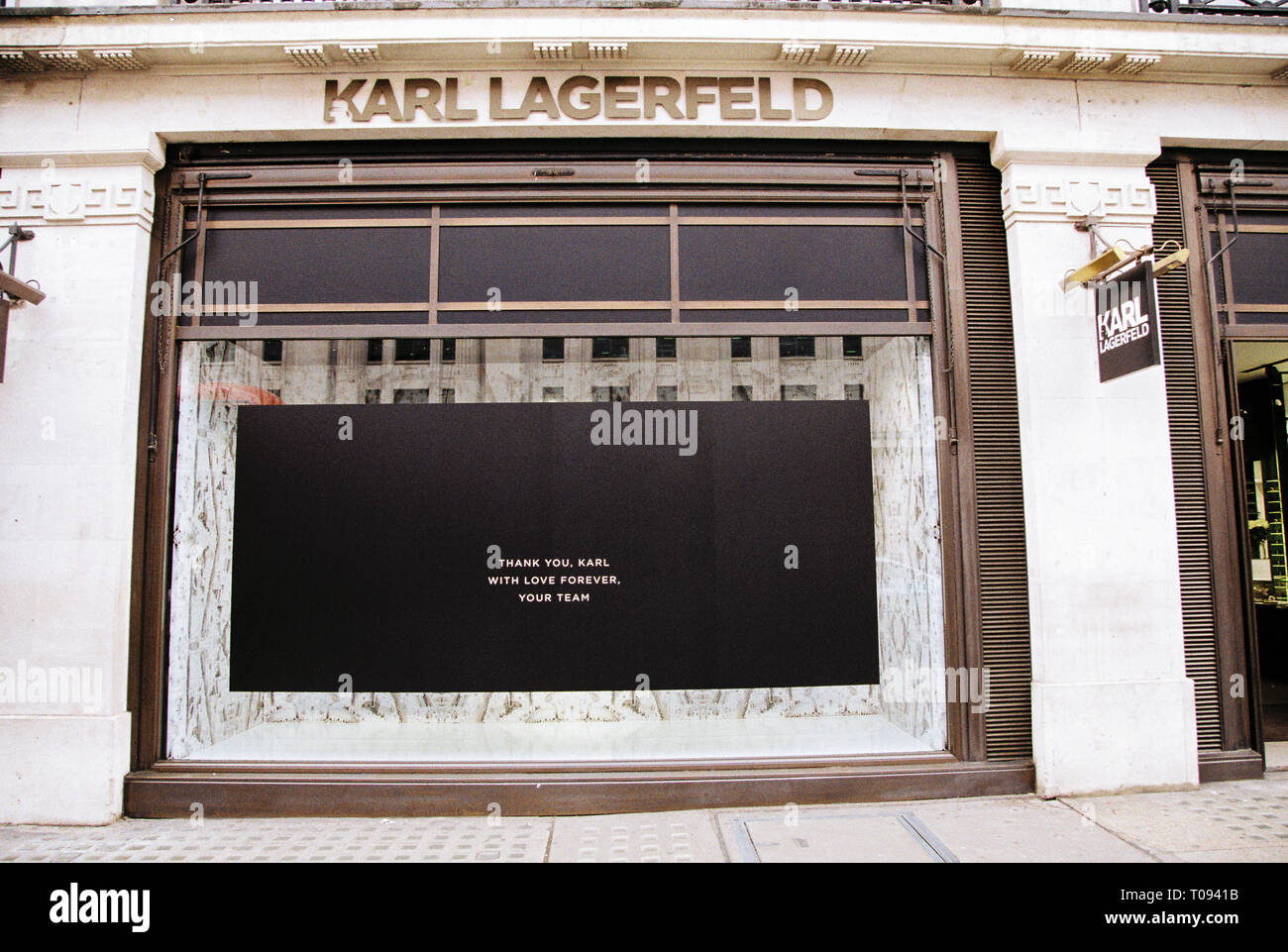 Karl Lagerfeld store with blacked out windows following Karls's death, Regent street, London, England, United Kingdom. Stock Photo