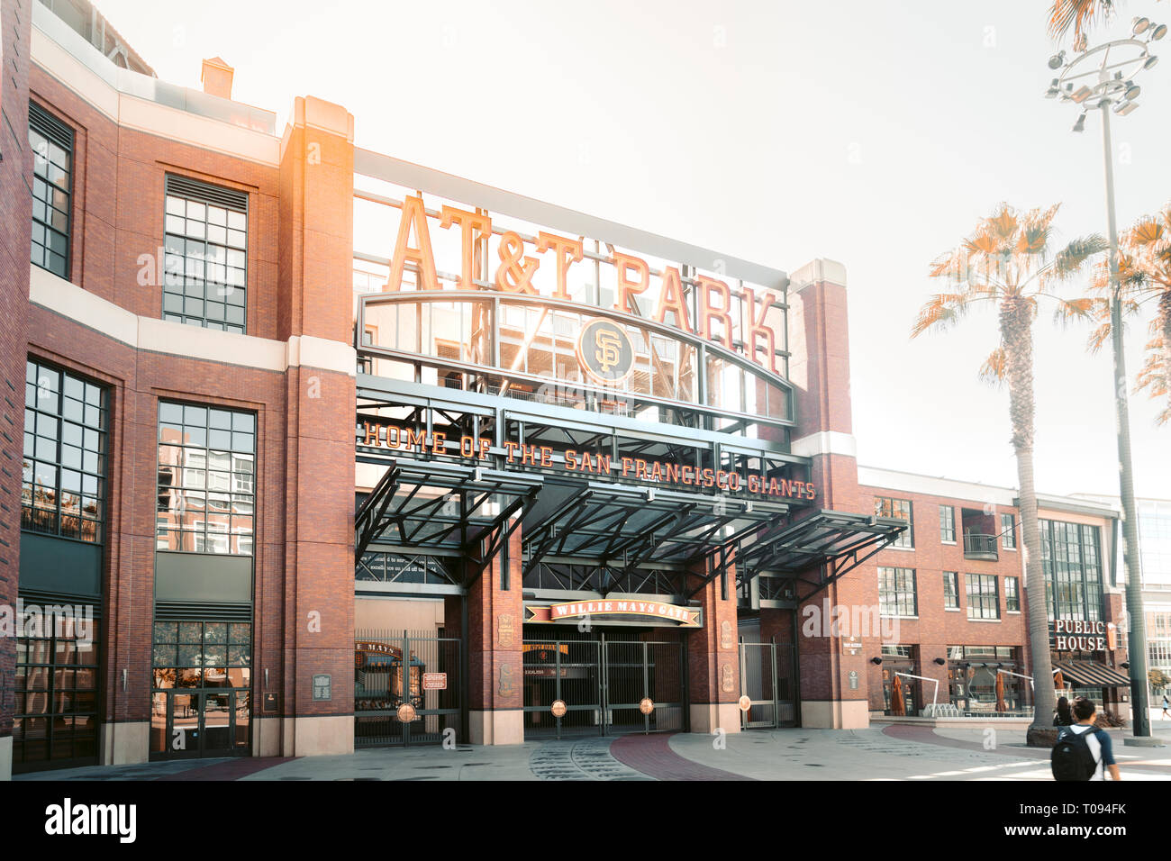 Panorama view of historic AT&T Park baseball park, home of the San Francisco Giants professional baseball franchise, on a beautiful sunny day with blu - Stock Image