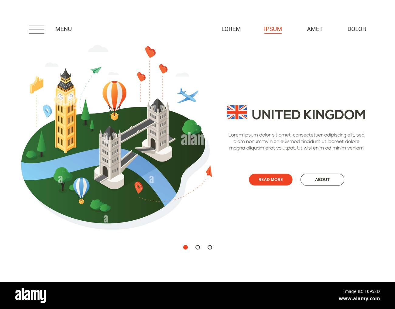 Visit the United Kingdom - modern colorful isometric web banner - Stock Image