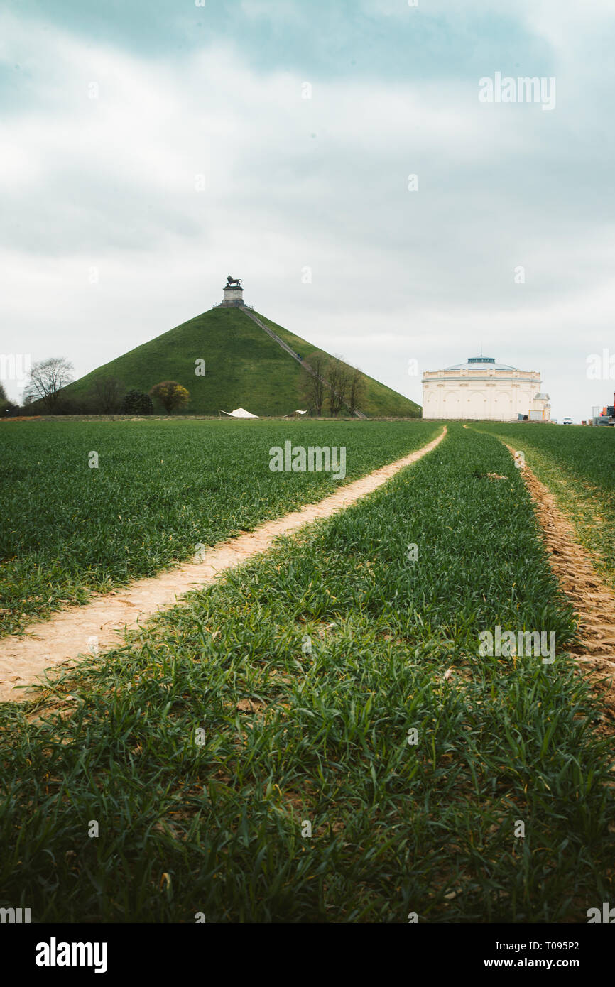 Panorama view of famous Lion's Mound (Butte du Lion) memorial site, a conical artificial hill located in the municipality of Braine-l'Alleud, Belgium - Stock Image