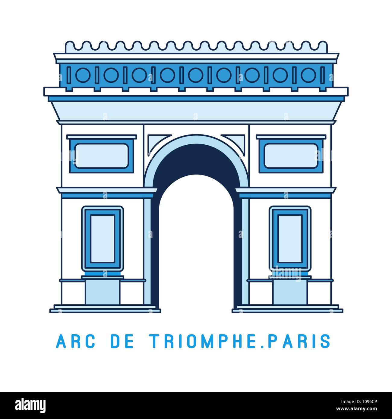 Line art Triumphal Arch, Arc de Triomphe, Paris, European famous monument, vector illustration in flat style. - Stock Image