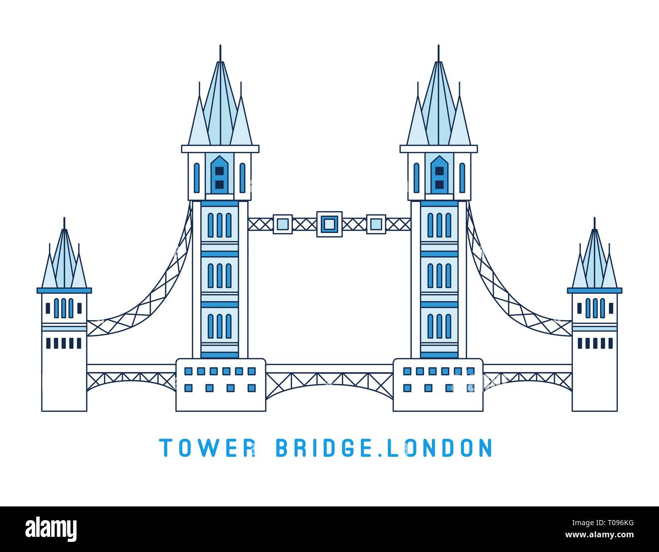 Line art Tower Bridge, England, symbol of London, European famous sight, vector illustration in flat style. - Stock Vector