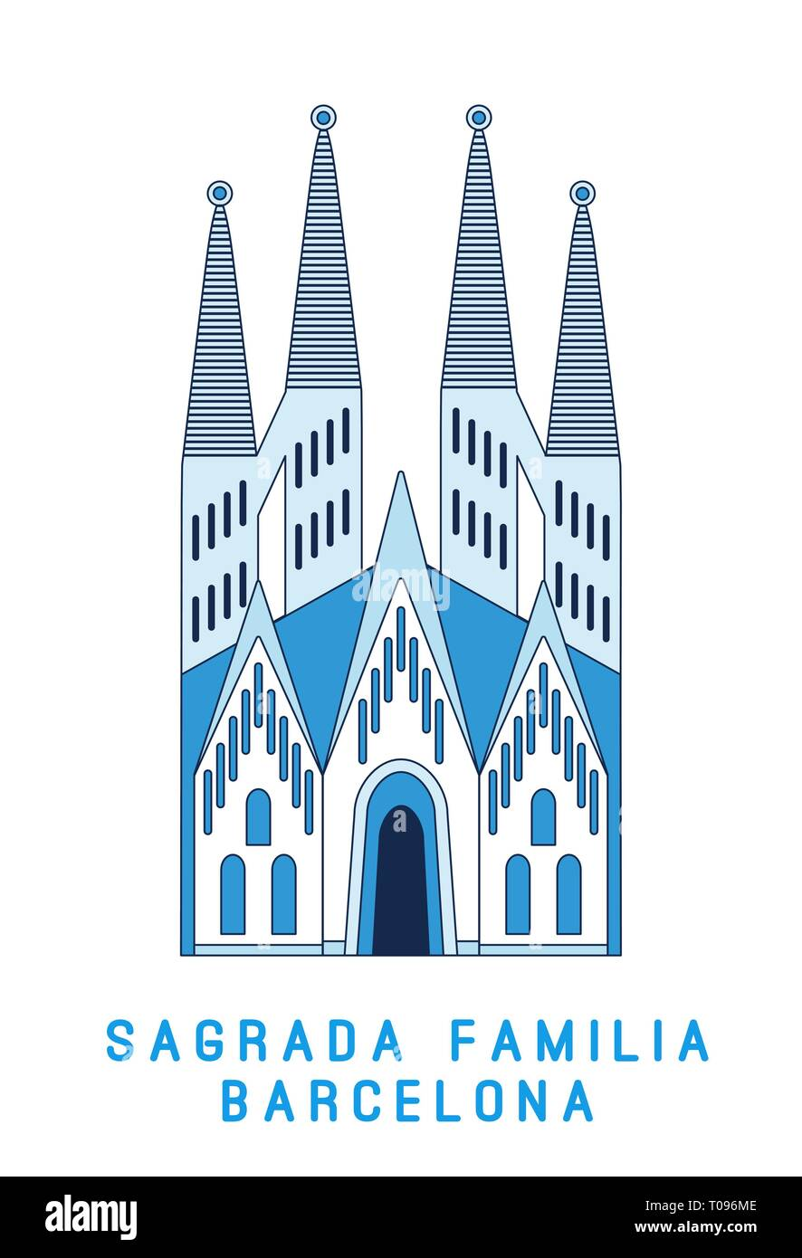 Line art Sagrada Familia Barcelona, famous Spain cathedral, vector illustration in flat style. - Stock Image