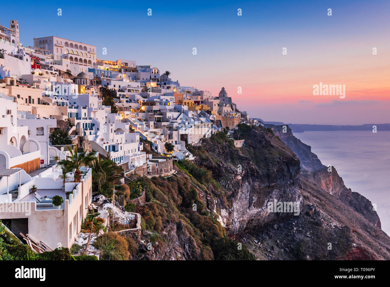 Santorini, Greece. The picturesque Fira village at sunset. - Stock Image