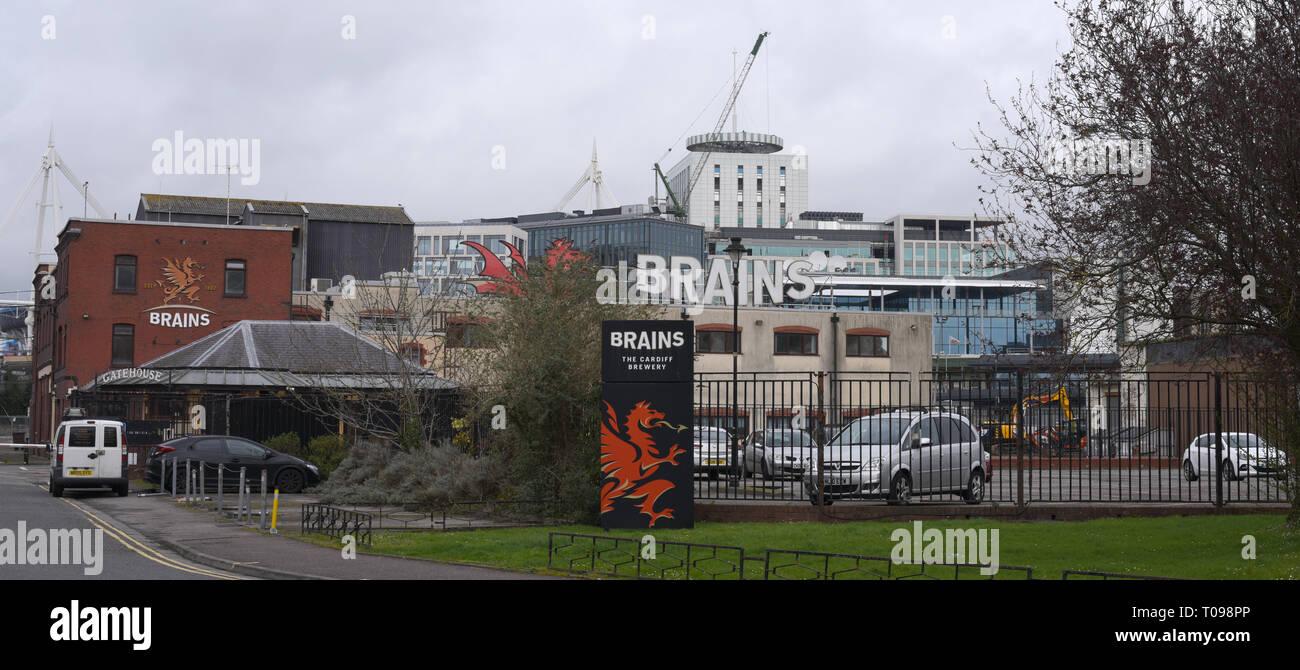 Brains Brewery Crawshay Street Cardiff number 3810 - Stock Image