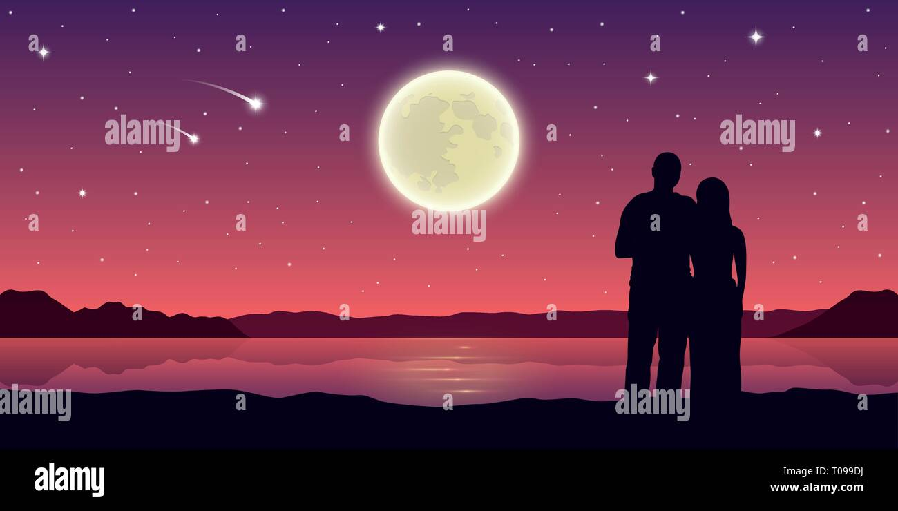romantic night couple in love at the lake with full moon and falling stars vector illustration EPS10 Stock Vector