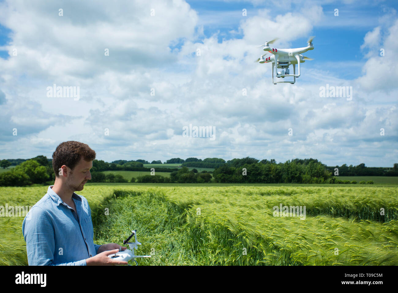 Great Britain, England, Wiltshire.  Man operating a drone in a crop circle. - Stock Image
