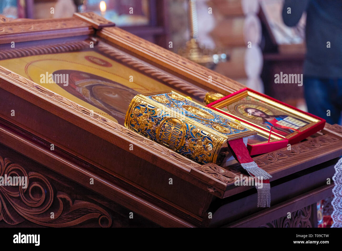 Icon on the lectern in Orthodox Church - Stock Image