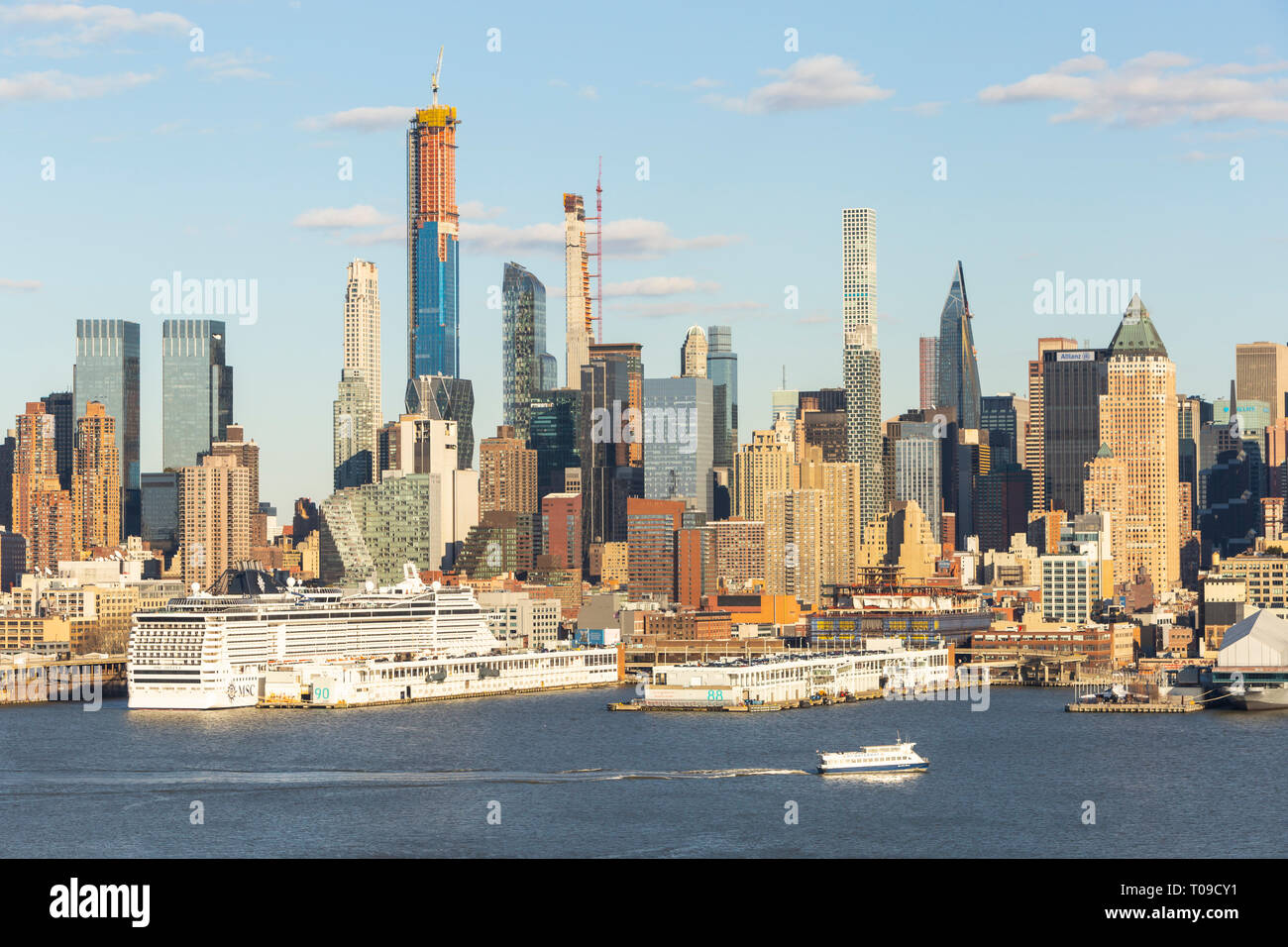 Part of the evolving mid-town Manhattan skyline, including supertall residential skyscrapers on West 57th street, in New York City. - Stock Image