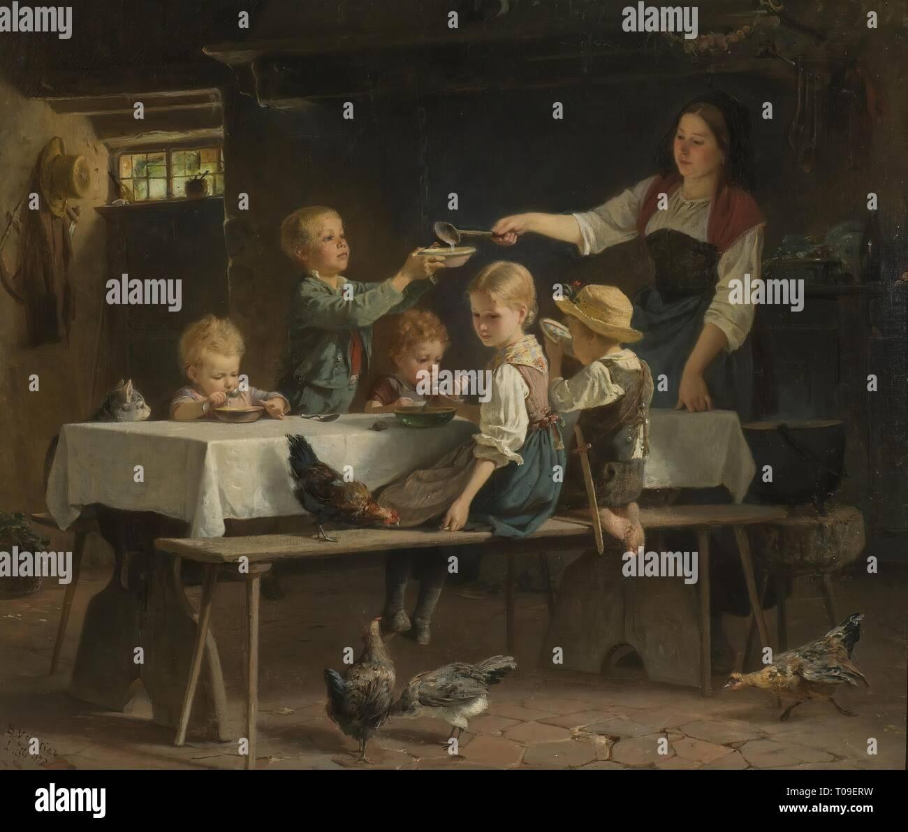 'Eating Children'. Germany, 1857. Dimensions: 54,5x65 cm. Museum: State Hermitage, St. Petersburg. Author: Pierre Vauthier . Vautier, Marc Louis Benjamin, the Elder. - Stock Image
