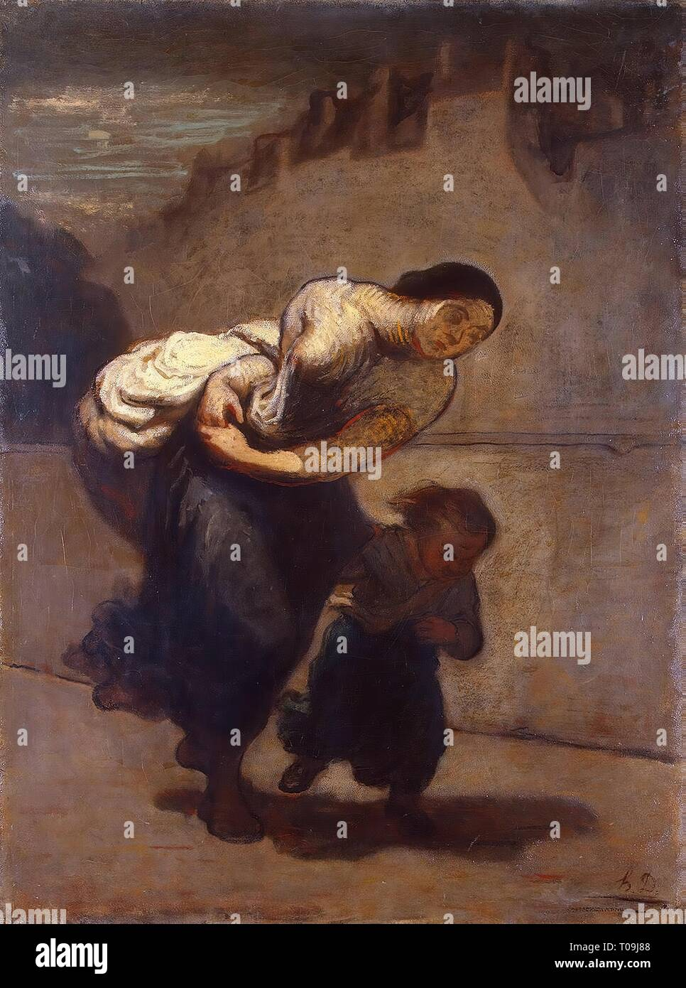 'The Burden (The Laundress)'. France, 1850-1853. Dimensions: 131x98 cm. Museum: State Hermitage, St. Petersburg. Author: HONORE DAUMIER. - Stock Image