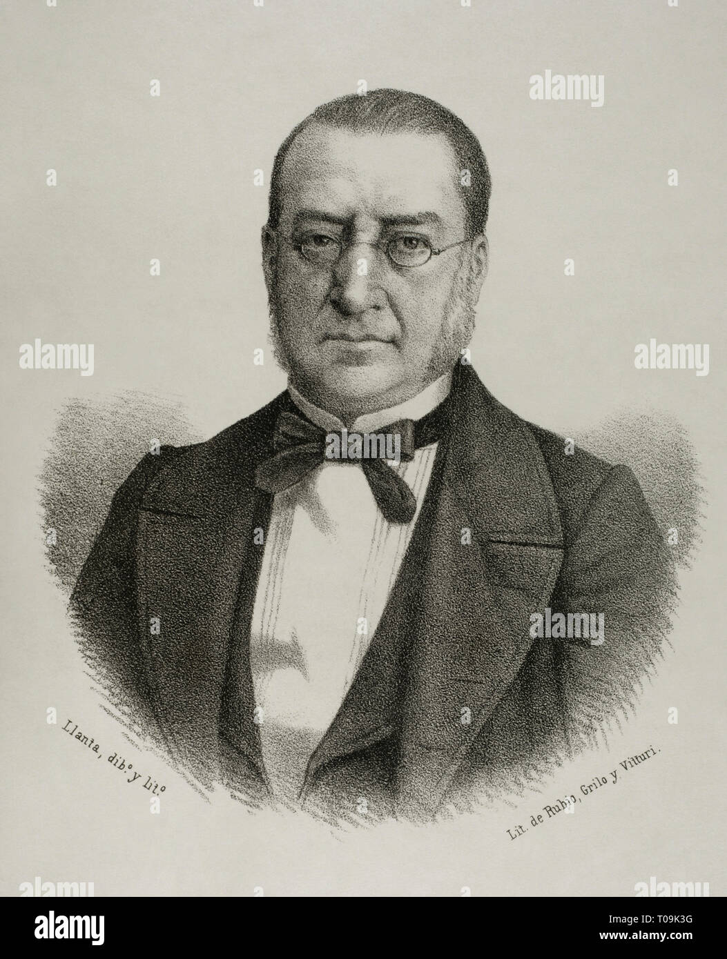 Rafael de Bustos y Castilla-Portugal, Marquis of Corvera (1807-1894). Politician and Spanish aristocrat. He was Deputy in Courts for Murcia during 26 years. As governor of Madrid, he built the Casa de la Moneda. Minister of Development during the reign of Isabel II. Lithography. Drawing by Llanta. Cronica General de España, Historia Ilustrada y Descriptiva de sus Provincias. Murcia, 1870. - Stock Image