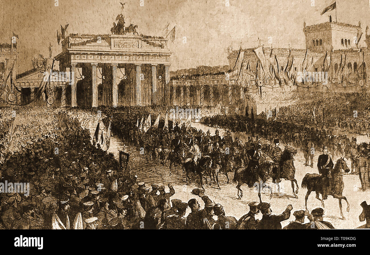 Berlin welcomes victorious Prussian army near the Brandenburg Gate, after defeat of Austria  (Austro-Prussian War - aka Seven Weeks' War (also known as the Unification War, the War of 1866, or the Fraternal War, in Germany as the German War ) - Stock Image