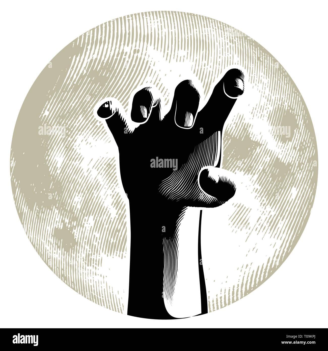 Halloween design. Zombie hand on the full moon. Linocut style. - Stock Image